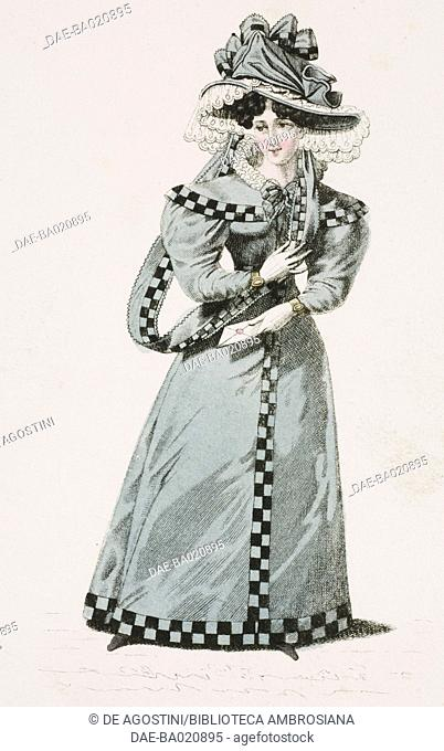 Woman wearing a grey dress with checkered trim and matching hat with white lace veil, plate 17, French Fashions, Il Corriere delle Dame, 1827