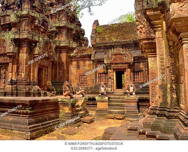 Banteay Srei temple, cntral courtyard with monkey and yaksha guardian figures. Siem Reap, Cambodia. Dedicated o Hindu god Shiva