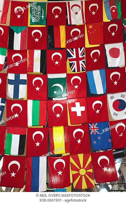 Flags in the Interior of Grand Bazaar, Istanbul, Turkey
