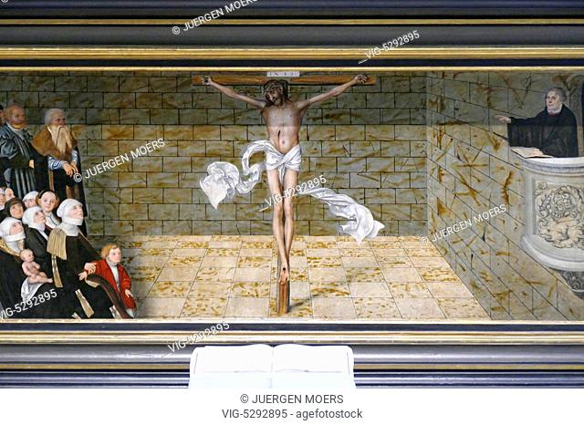 23.05.2015, Germany, Wittenberg, MARTIN LUTHER in the pulpit in the Reformation Church St. Mary's Church paintings by Lucas Cranach The Elder