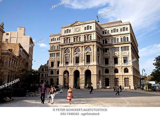 former Havana Stock Exchange or Lonja del Comercio building on Plaza de San Francisco in Havana, Cuba, Caribbean