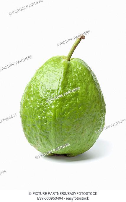 Whole sinfgle fresh guava isolated on white background