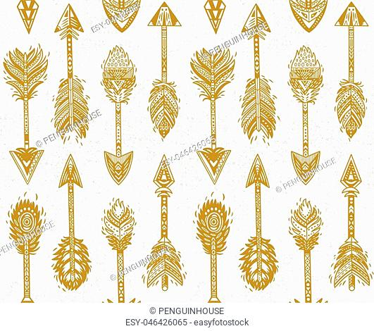 Seamless pattern with Gold Native American Navajo arrows in bohemian style. American indian motifs. Vector illustration