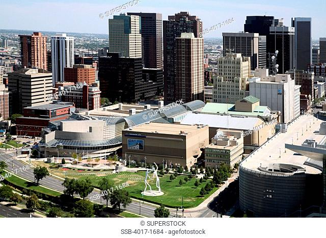 The Denver Center for the Performing Arts and Downtown skyline