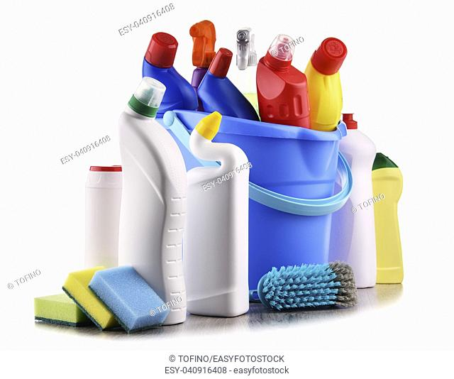 Variety of detergent bottles and chemical cleaning supplies isolated on white