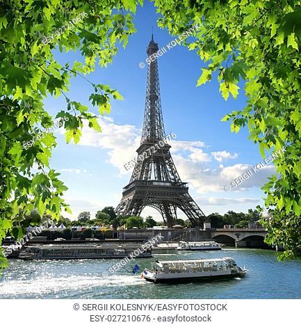 La Tour d'Eiffel on the bank of Seine in Paris, France