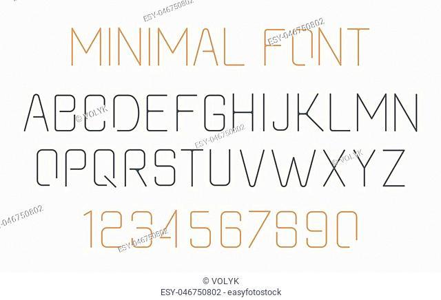 Minimalist alphabet Font design. Simple and minimalistic line style