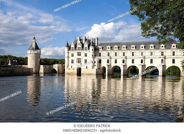 France, Indre et Loire, Loire Castles, Chenonceau, Chateau de Chenonceau built on Cher River