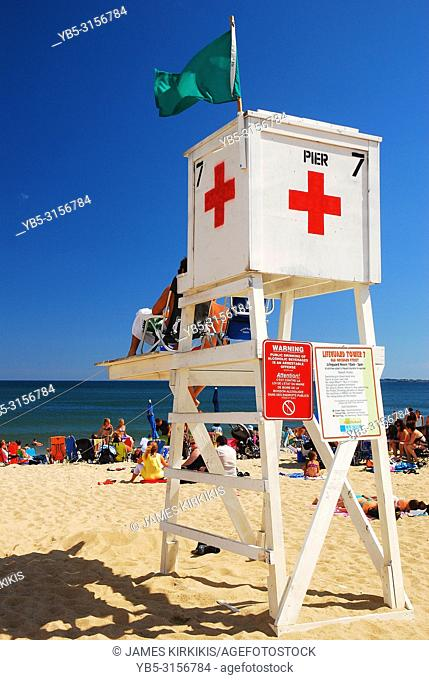 Lifeguards watch over the summer crowd at Old Orchard Beach, Maine