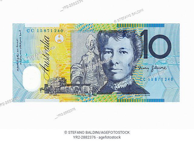 Australian ten dollar banknote on a white background