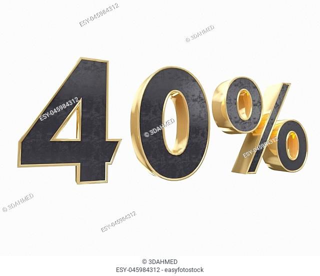 Black gold for ten percent, isolated on white background. 10 3d illustration of Renderer simple, special, sticker, store, symbol, tag, white, year