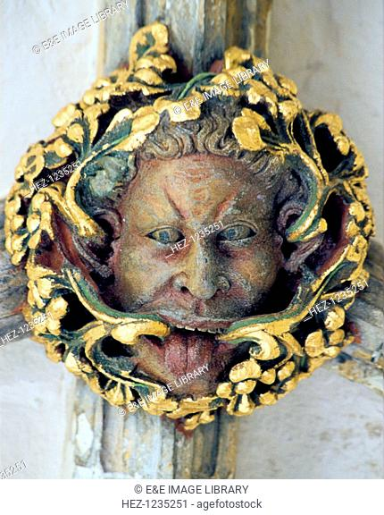 Green Man', Norwich Cathedral, Norfolk. Originally a pagan god associated with natural rebirth in the Spring, the Green Man motif is frequently used in...