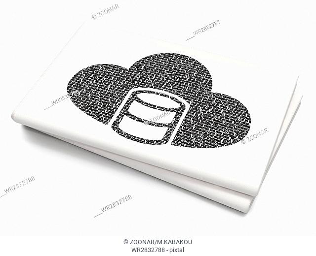 Cloud computing concept: Database With Cloud on Blank Newspaper background