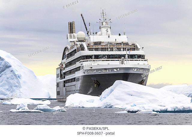 Cruise ship L'Austral sailing Antarctica