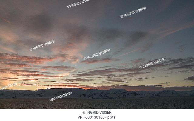 Antarctic scenic at twilight. Antarctic Peninsula