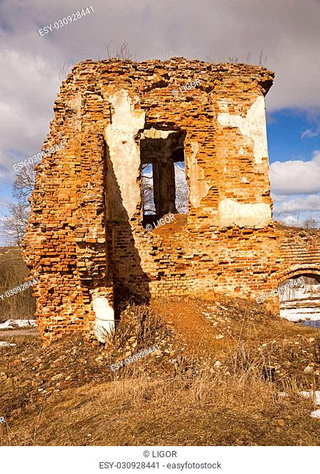 the photo of part of structures. fortress ruins. belarus