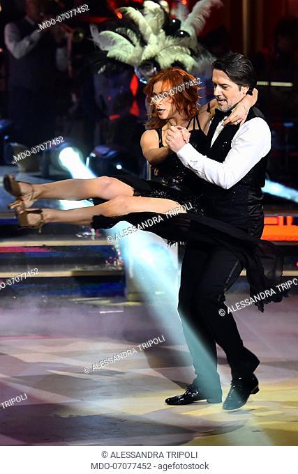 The Italian actor Ettore Bassi with his dance teacher Alessandra Tripoli during the fourth episode of the show Ballando Con Le Stelle auditorium Rai Foro...
