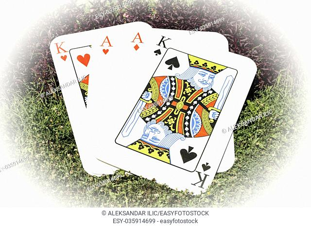 Playing cards Aces and Kings