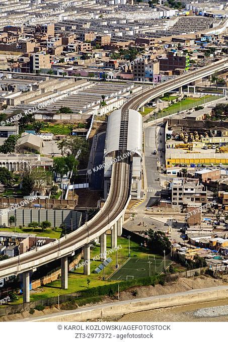 Light Rail Station seen from the San Cristobal Hill, Lima, Peru