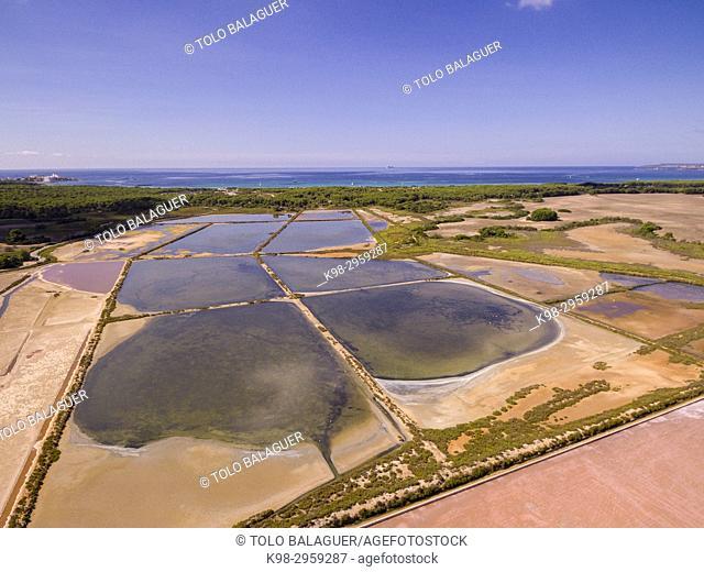 Salinas de Es Trenc, Es Trenc-Salobrar de Campos, Ã. rea Natural de Especial Interés, municipio de Campos, Mallorca, Balearic islands, Spain