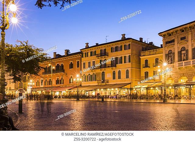 Piazza Bra at night. Verona, Veneto, Italy, Europe
