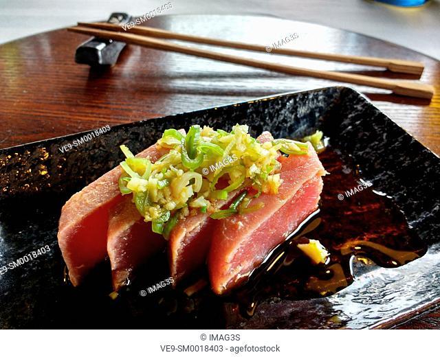 Red tuna Tataki, Amada Carlota Japanese Restaurant, La Cotariella, Cabranes, Asturias, Spain