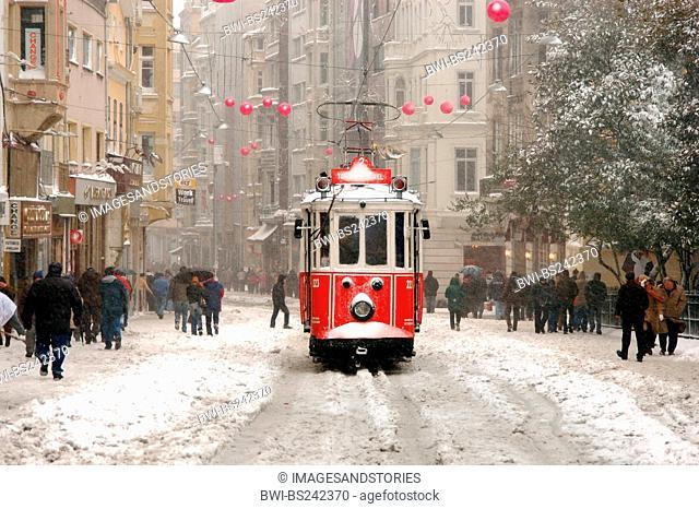 tram in Beyoglu to Taksim Square, Turkey, Istanbul