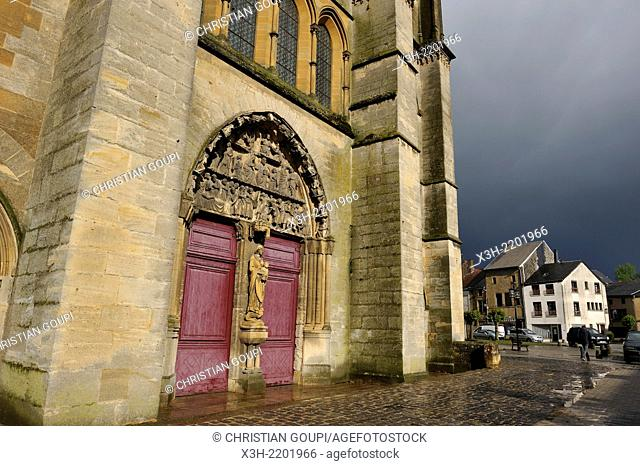 portal of the abbey church of Mouzon, Ardennes department, Champagne-Ardenne region of northeasthern France, Europe