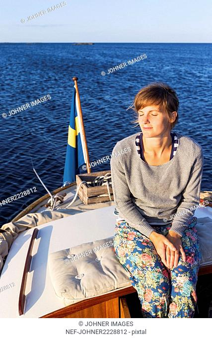 woman on a boat