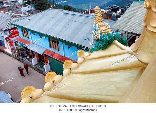 Jogibara street from Stupa,McLeod Ganj, Dharamsala, Himachal Pradesh state, India, Asia