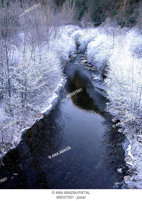 Frozen Llobregat river. La Pobla de Lillet, Barcelona province, Catalonia, Spain