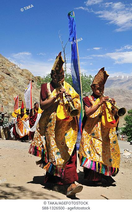 Procession of Living God Rimpoche is coming. Jammu and Kashmir, India