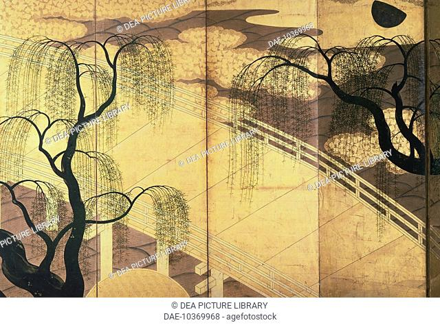 The willows on Uji Bridge, detail from a decorative screen, by Tosa Hirochika (active 15th century), Japan. Japanese Civilisation, 15th century