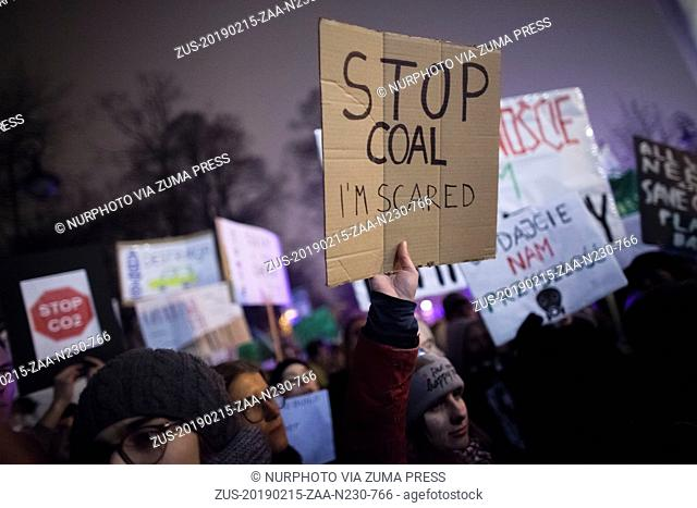 February 15, 2019 - Warsaw, Poland - Stop coal i am scared banner seen in Warsaw on February 15, 2019. (Credit Image: © Maciej Luczniewski/NurPhoto via ZUMA...