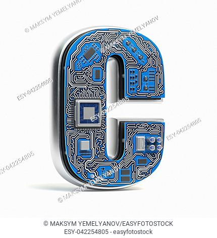 Letter C, Alphabet in circuit board style. Digital hi-tech letter isolated on white. 3d illustration