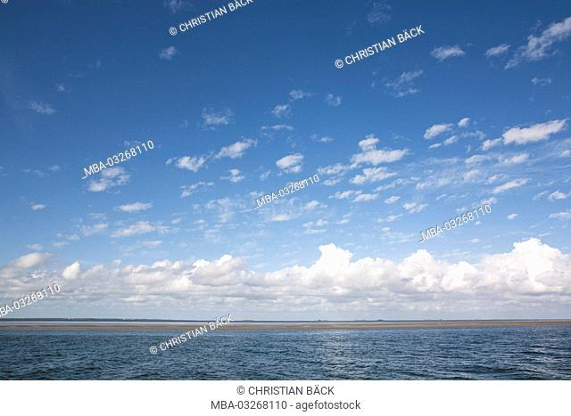View to the sea, Hallig Hooge, Schleswig - Holstein, North Germany, Germany