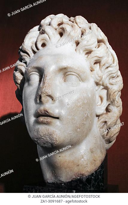 Seville, Spain - July 7th, 2018: Alexander the Great portrait from Hadrian Rule, Archaeological Museum of Seville, Andalusia, Spain