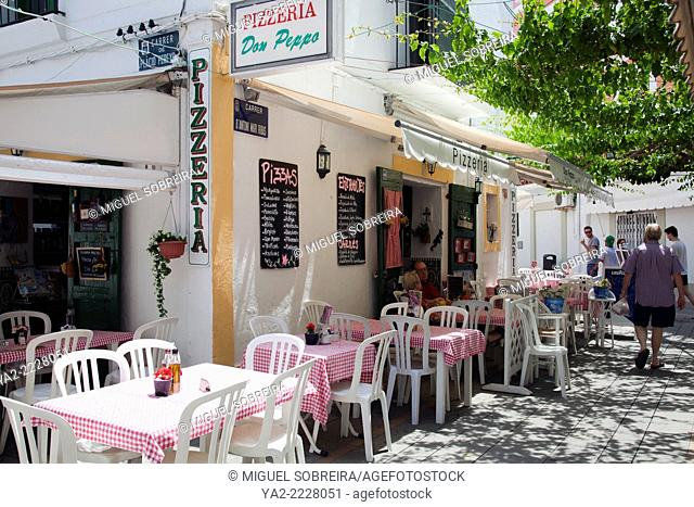 Ibiza Old Town Lanes with Restaurants and Shops - Ibiza - Spain