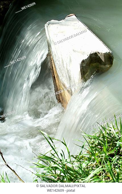 detail of running water from the river, cooling effect, natural location girona ,catalonia,spain,europe,