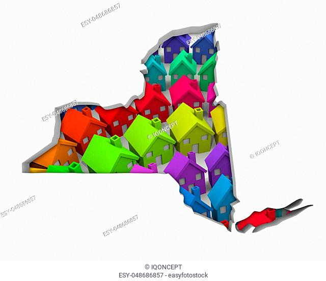 New York NY Homes Homes Map New Real Estate Development 3d Illustration