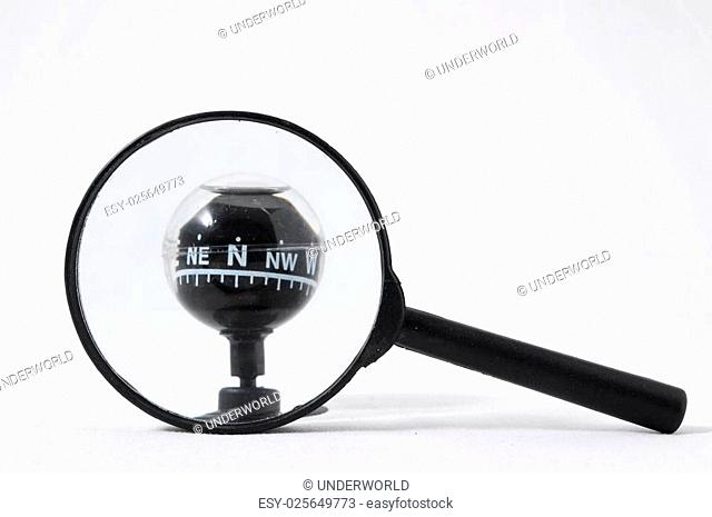 Orientation Concept Magnify Glass and Compass on a White Background