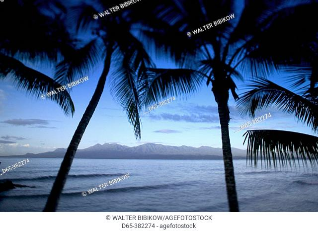 French West Indies (FWI), Guadeloupe, Grande Terre, Bas-du-Fort: Palms & View of Basse-Terre, Defocussed