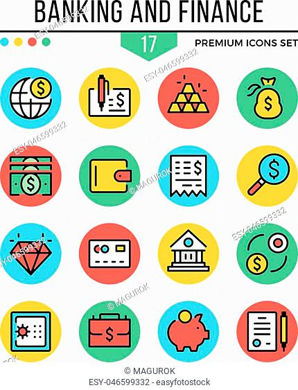 Banking and finance icons. Modern thin line icons set. Premium quality. Outline symbols, graphic elements, concepts, flat line icons for web design, mobile apps