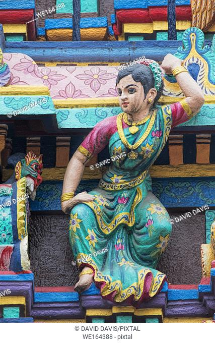Exterior details of the Temple of Miss Mariamman India in Ho Chi Minh City Vietnam