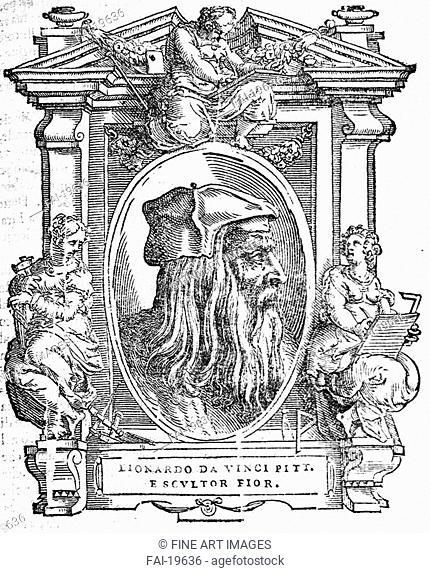Leonardo da Vinci. From: Giorgio Vasari, The Lives of the Most Excellent Italian Painters, Sculptors, and Architects. Anonymous . Woodcut. Renaissance