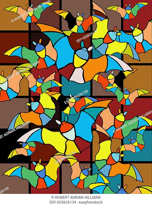 Colorful vector illustration of stained-glass bats flying