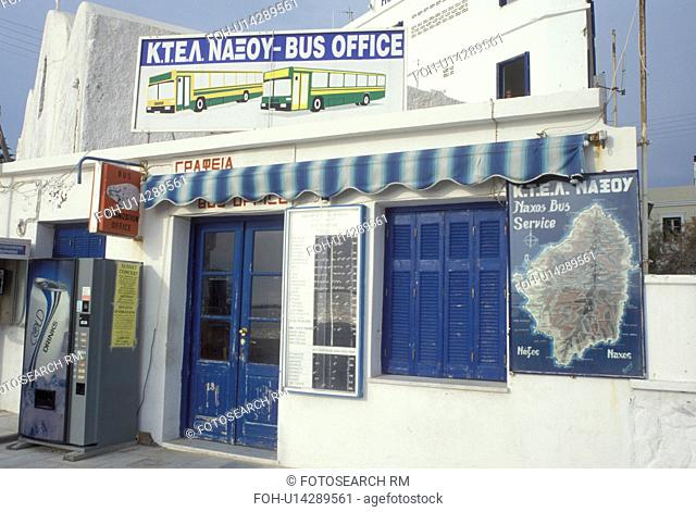 Naxos, Greece, Greek Islands, Cyclades, Europe, Bus Station in the village of Hora Naxos on Naxos Island on the Aegean Sea