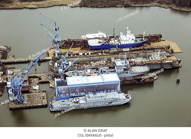 Ship being built in a dry dock, Bremerhaven, Germany