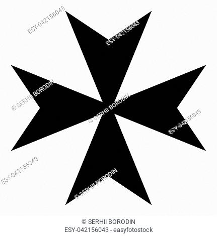 Maltese cross icon black color vector illustration flat style simple image