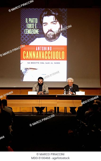 The chef and host of the Italian version of Kitchen Nightmares, Antonino Cannavacciuolo, during his speech at the XXIX International Book Fair in Turin
